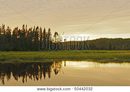 Sunset Reflections On A Remote Pond