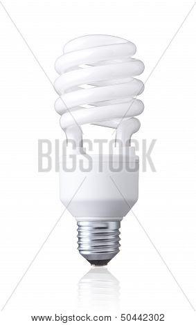 white energy saving bulb isolated on white background