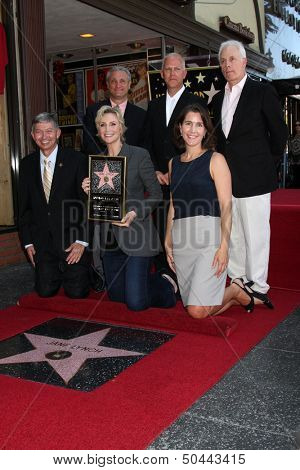 LOS ANGELES - SEP 4:  Ryan Murphy, Jane Lynch, chamber officials at the Jane Lynch Hollywood Walk of Fame Star Ceremony on Hollywood Boulevard on September 4, 2013 in Los Angeles, CA