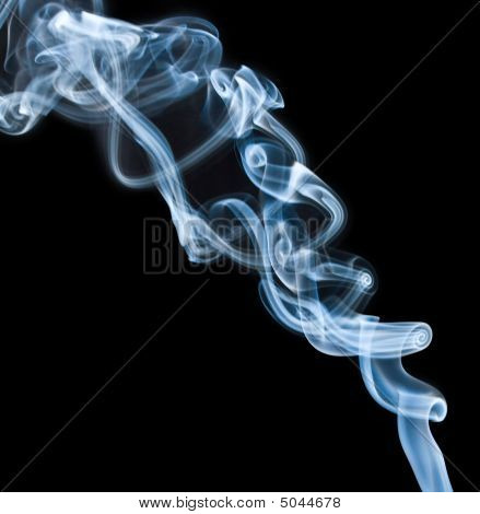 Blue Dense Smoke On Black