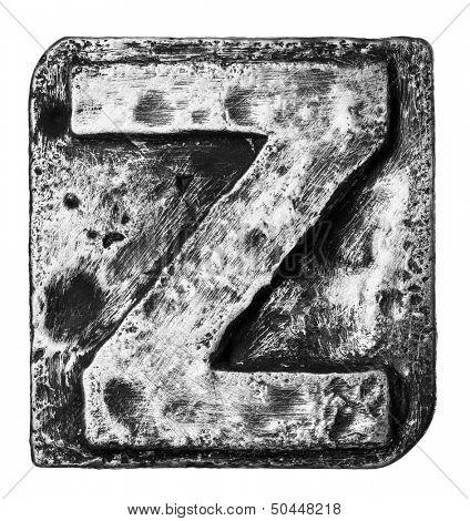 Metal alloy alphabet letter Z