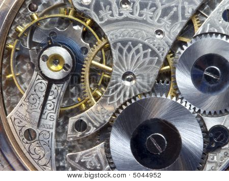 Macro Of Antique Pocket Watch Works