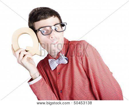 Nerd Businessman Holding Letter Q For Question
