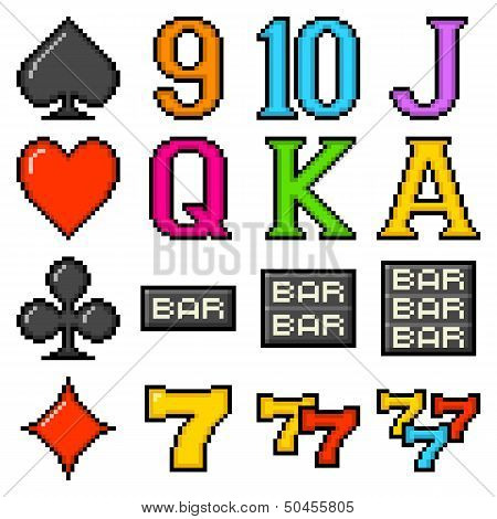 8-bit Pixel Art Slot Machine Symbols