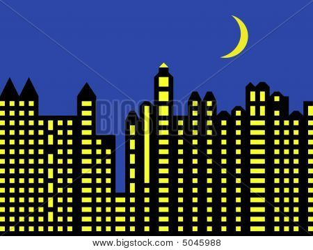 Modern City Skyline At Night
