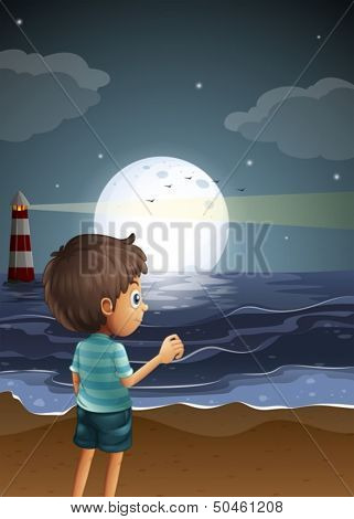 Illustration of a beach with a young boy