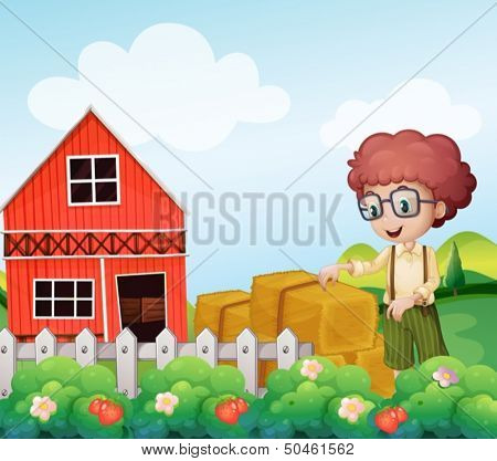 Illustration of a young boy standing near the hays in the farm