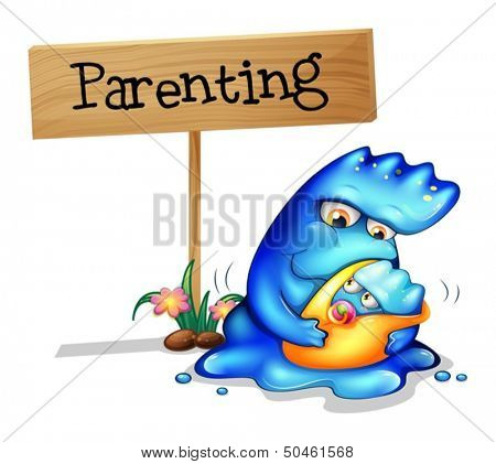 Illustration of a parent monster and her child on a white background