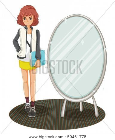 Illustration of a schoolgirl standing beside the mirror on a white background