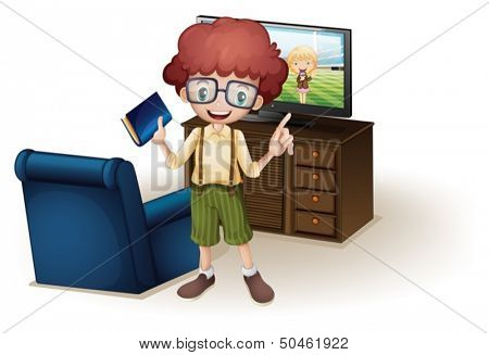 Illustration of a boy holding a book standing near the blue couch on a white background