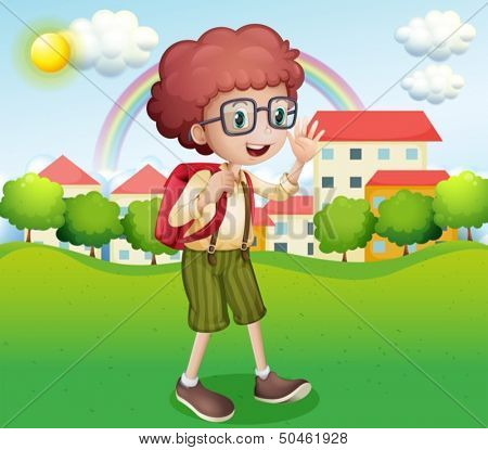 Illustration of a boy going home from school