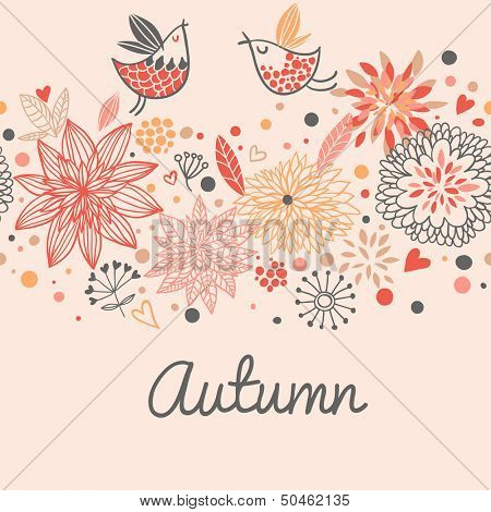 Autumn seamless pattern with cute birds, flowers and hearts in vector.  Seamless pattern can be used for wallpapers, pattern fills, web page backgrounds, surface textures.