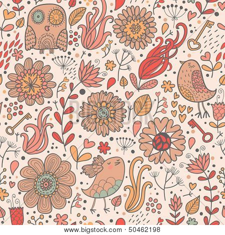 Vintage floral background with owl, flowers, keys, hearts and leafs. Seamless pattern can be used for wallpapers, pattern fills, web page backgrounds, surface textures.
