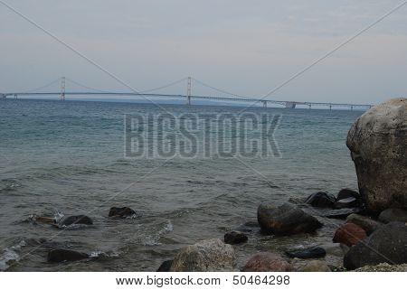 Rocky view of the Mackinac Bridge