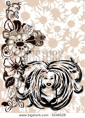 Graffiti Girl Floral Vector Border