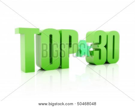 Top thirty green word isolated on white background. 3D illustration.
