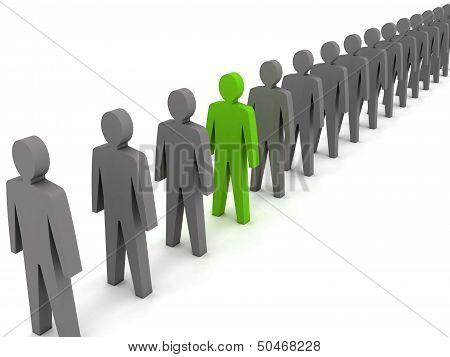 Unusual person. Over white background. Concept 3D illustration
