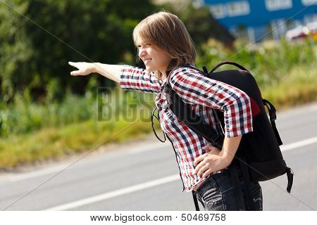 Teen Girl Hitch Hiking