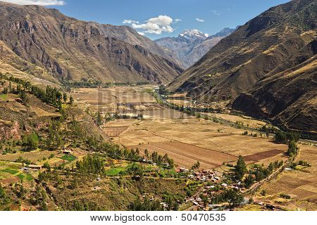 Andean Valley And Urubamba River
