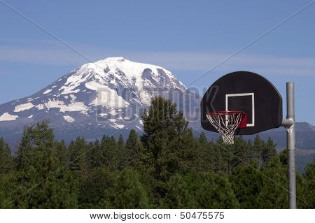 Basketball Hoop Backboard Mountain Background Mt Adams Cascade Range