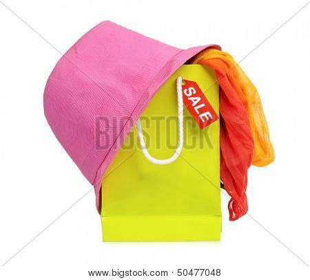Bright shopping bags, isolated on white background