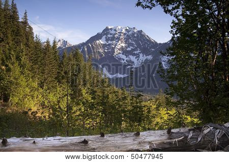 Fire Road Overlooks Big Four Peak North Cascades Mountain Range