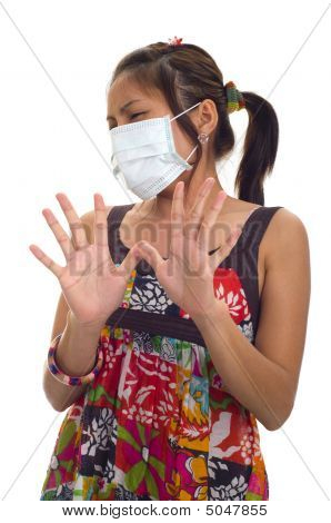 Protective Mask On Young Asian Woman