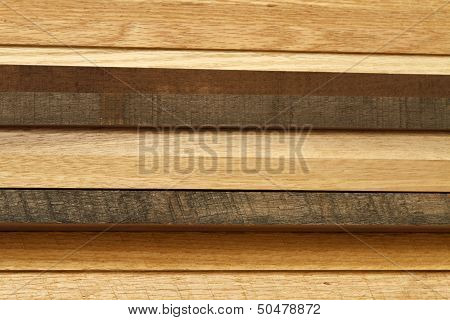 Wood Lumber Stack From The Side