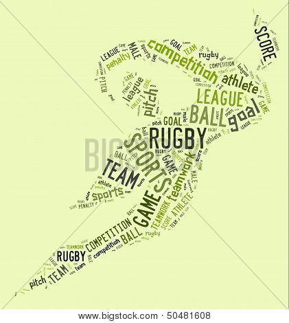 Rugby Football Pictogram With Green Wordings