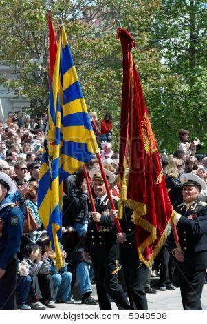 Sevastopol, Ukraine - May 9: Standard Bearer At Russian Veteran's Parade May 9, 2008 In Sevastopol