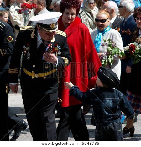 Veteran And His Grandson.