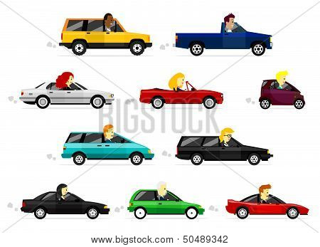 Business Man and Woman Driving Various Cars
