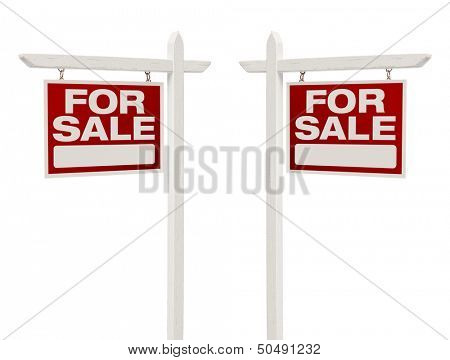 Pair of Left and Right Facing For Sale Real Estate Signs With Clipping Path Isolated on White.