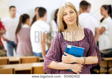 Portrait of beautiful female university student