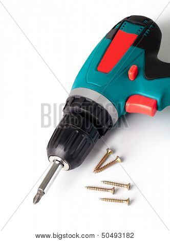Battery screwdriver or drill isolated on a white background