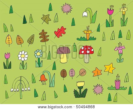 Cartoon Vegetation Collection In Colors