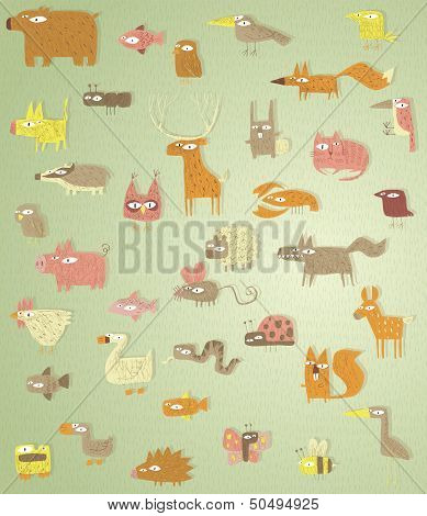 Big Grunge Animals Collection In Colours, With Grunge Texture