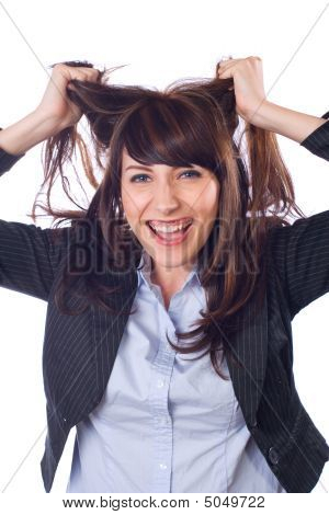 Business Woman Stressed Out Isolated On White