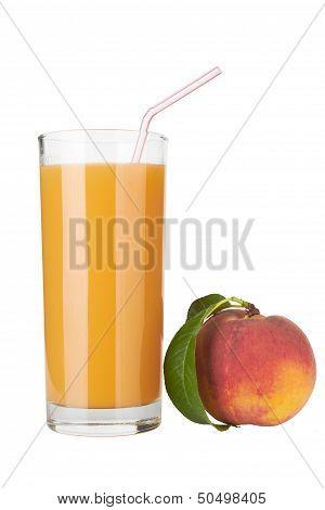 Fresh Peach Juce In Glass