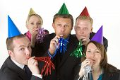 stock photo of office party  - Group Of Business People Wearing Party Favors - JPG