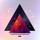 pic of mustache  - Hipster background made of triangles and space background - JPG