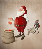 stock photo of elf  - Santa Claus with helper elf prepares gifts to Christmas night - JPG