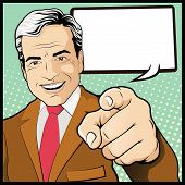 stock photo of directional  - illustration of pop Art comic book style man with his hand pointing directly at you - JPG