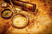 stock photo of compass  - Vintage magnifying glass - JPG