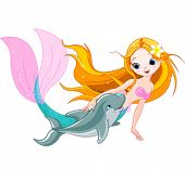 stock photo of dolphins  - Illustration of cute mermaid swimming with dolphin - JPG