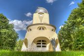 stock photo of albert einstein  - The Einstein tower in Potsdam at the science park in HDR - JPG