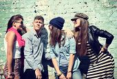 picture of friendship day  - Young people having fun together outdoors - JPG