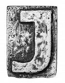 Metal alloy alphabet letter J