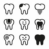pic of toothache  - Tooth vector icons set - JPG