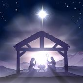 stock photo of bethlehem star  - Christmas Christian nativity scene with baby Jesus in the manger in silhouette and star of Bethlehem - JPG